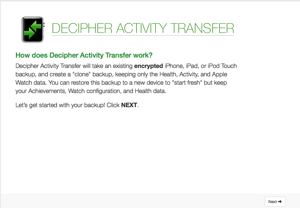 Decipher Activity Transfer start screen