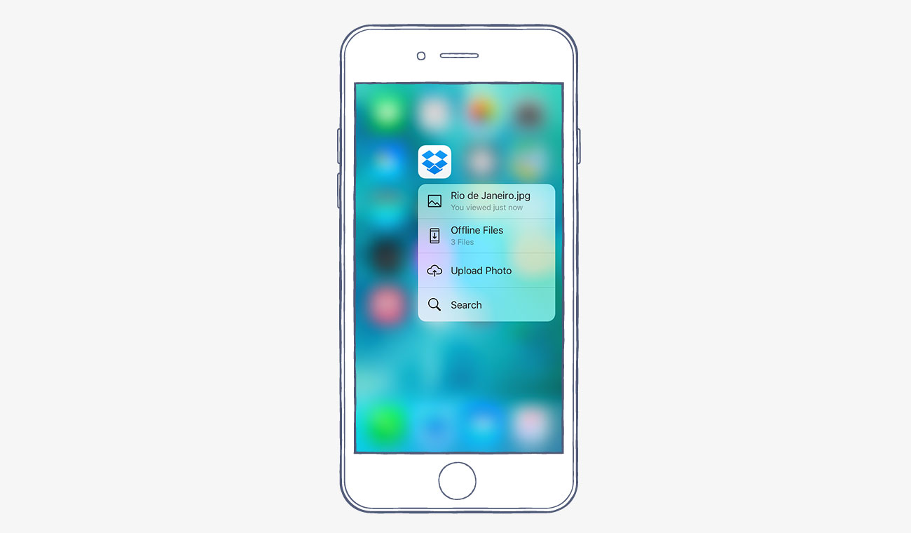 Dropbox for iOS 3D Actions
