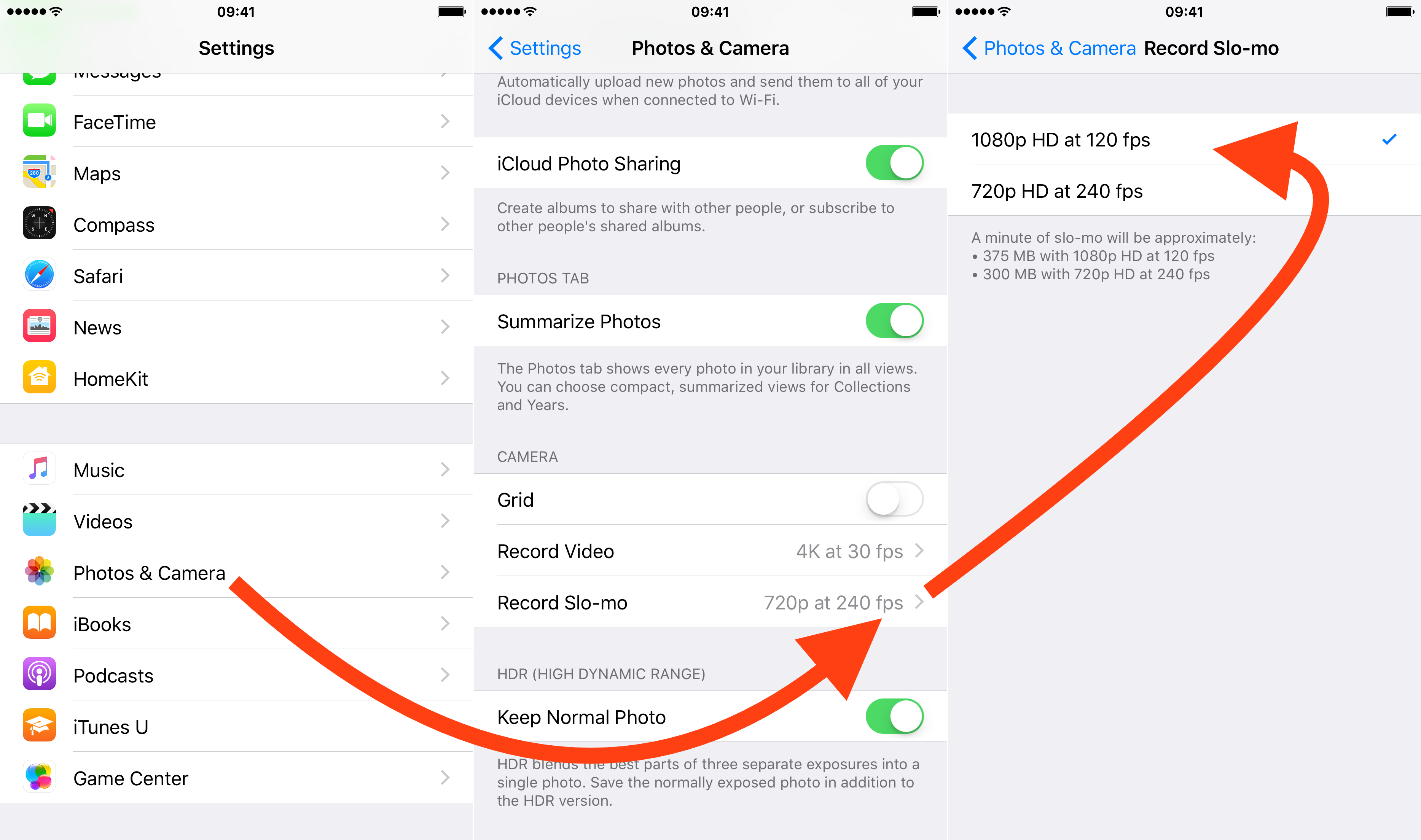 how to enable 1080p slo mo videos on iphone