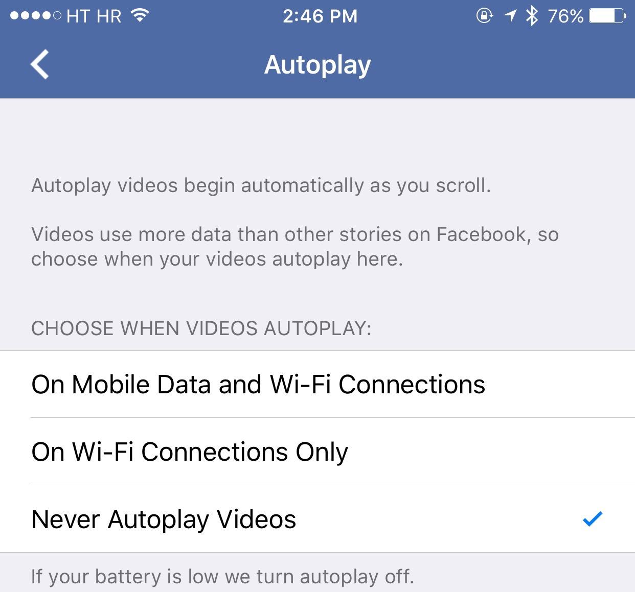 Facebook app Autoplay videos iPhone screenshot 001