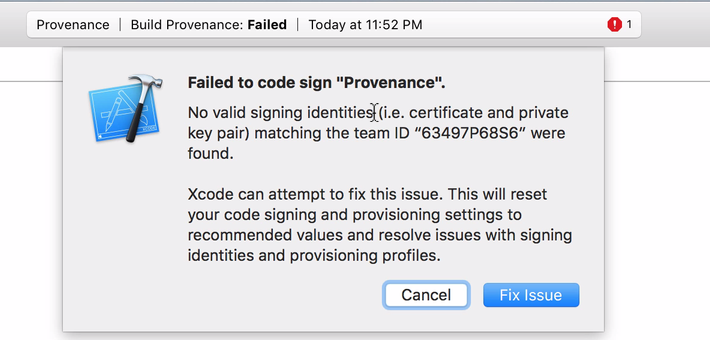 Failed to Code Sign Xcode 7