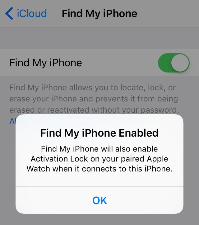 Find My iPhone Activation Lock Apple Watch