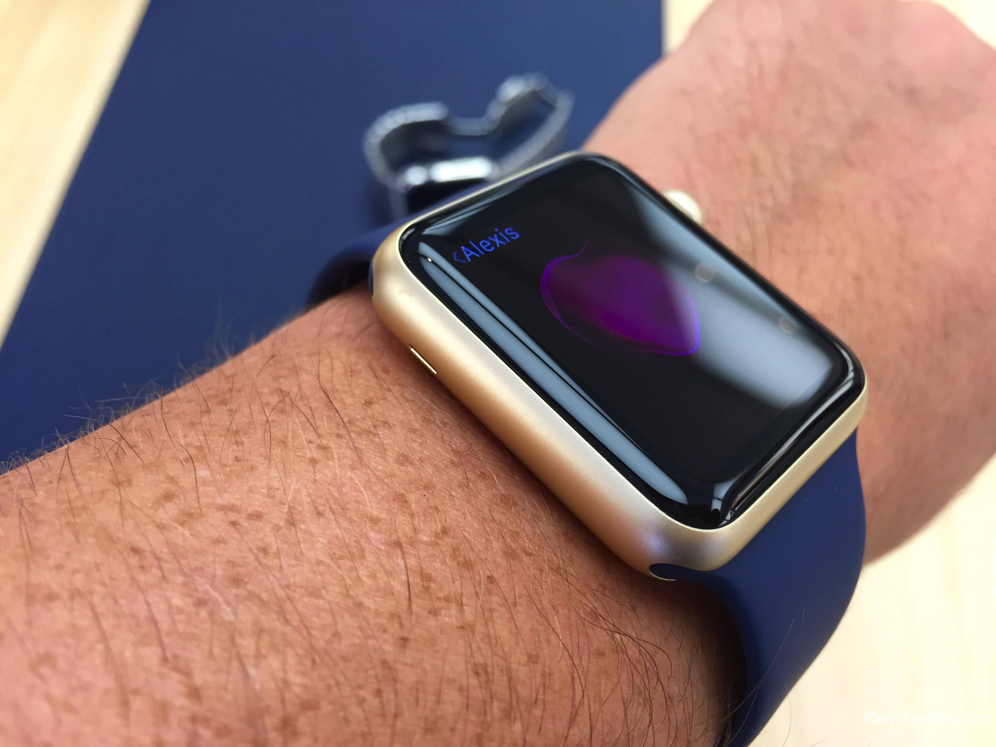 Gold Aluminum Apple Watch Hands on 4