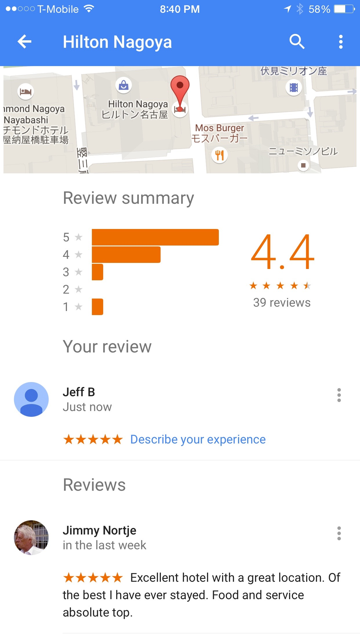 Google Maps Review interface