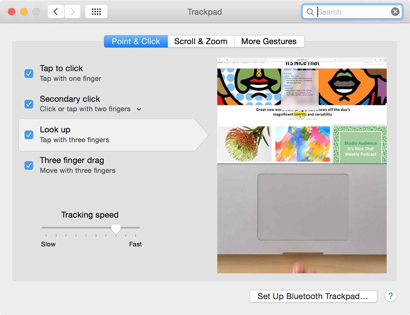 Lookup Trackpad OS X