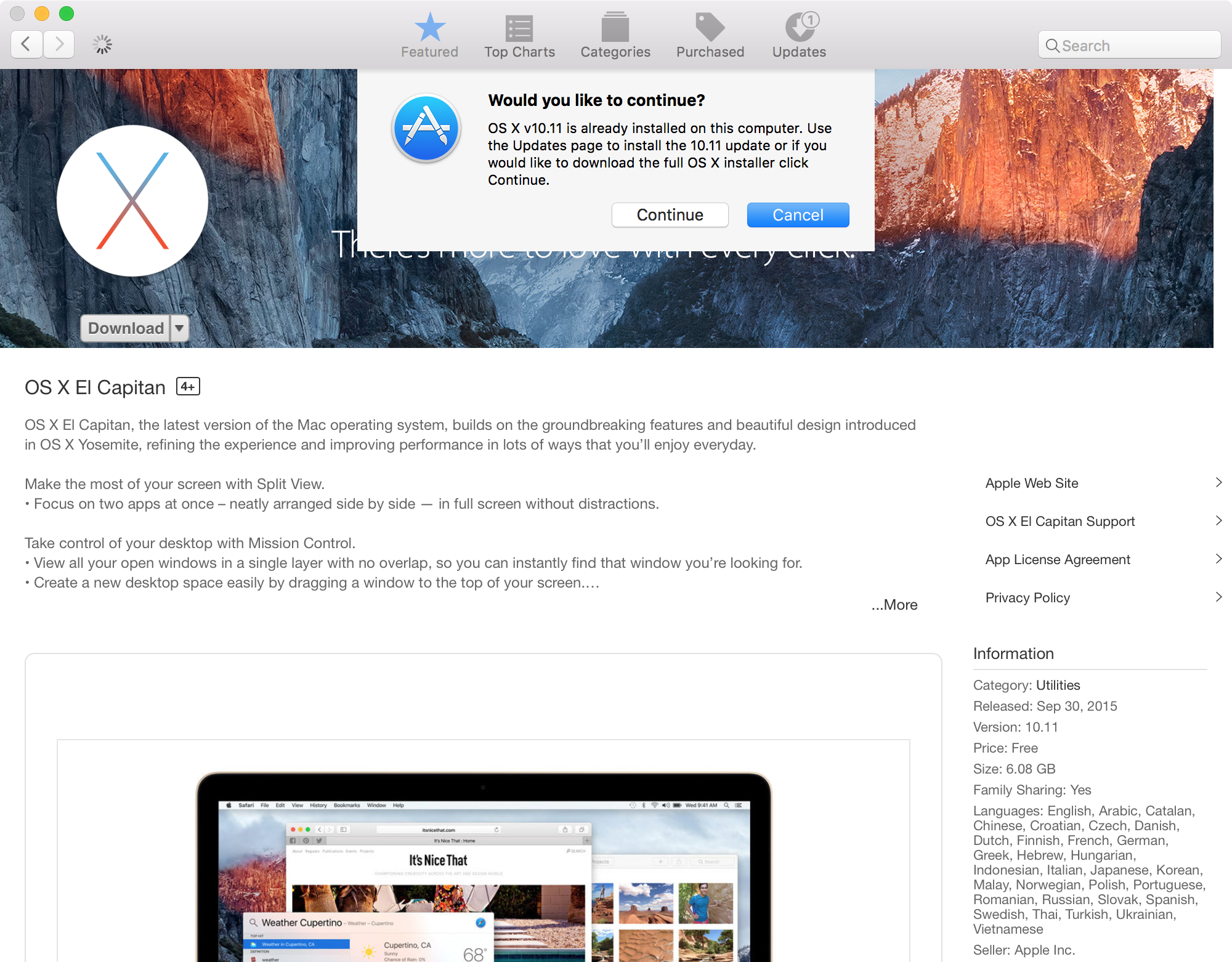 OS X 10.11 already installed update