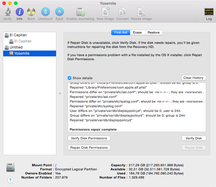 OS X Yosemite Disk Utility Verify Disk Permissions 002