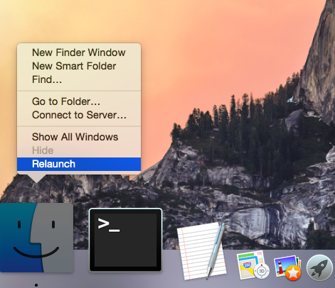 OS X Yosemite Finder Relaunch Mac captura de pantalla 001