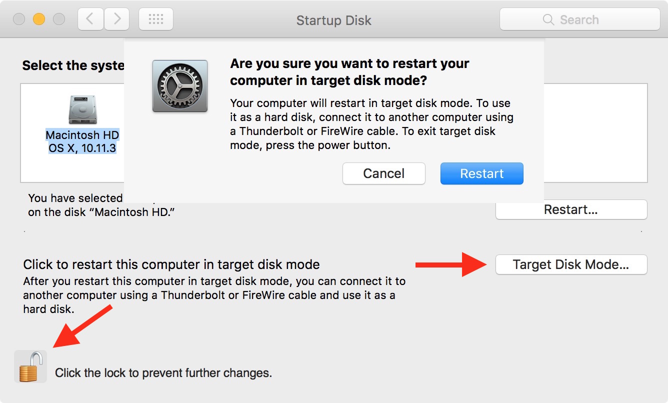 Restart in target disk mode