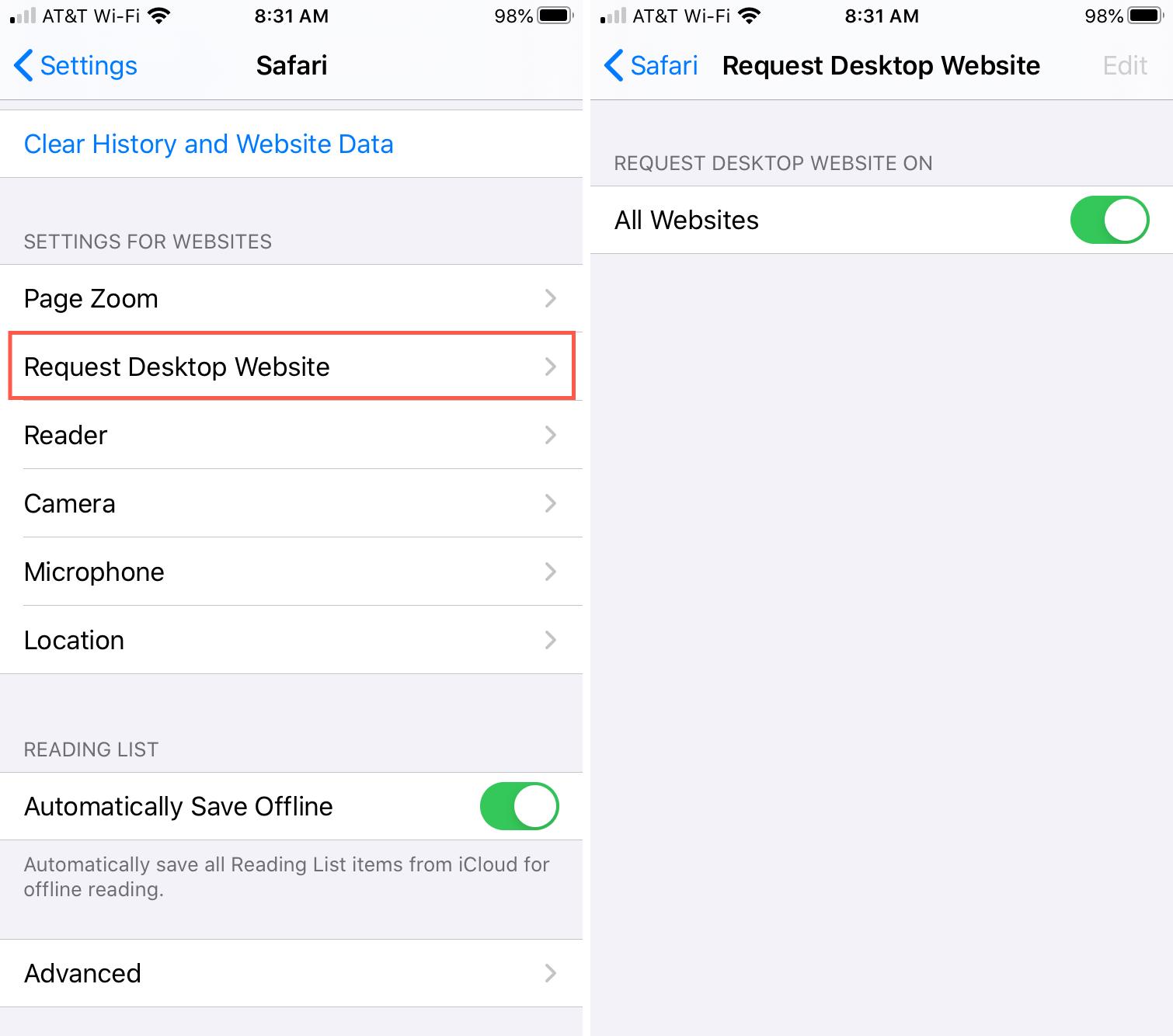 Safari Request Desktop Site Settings - updated