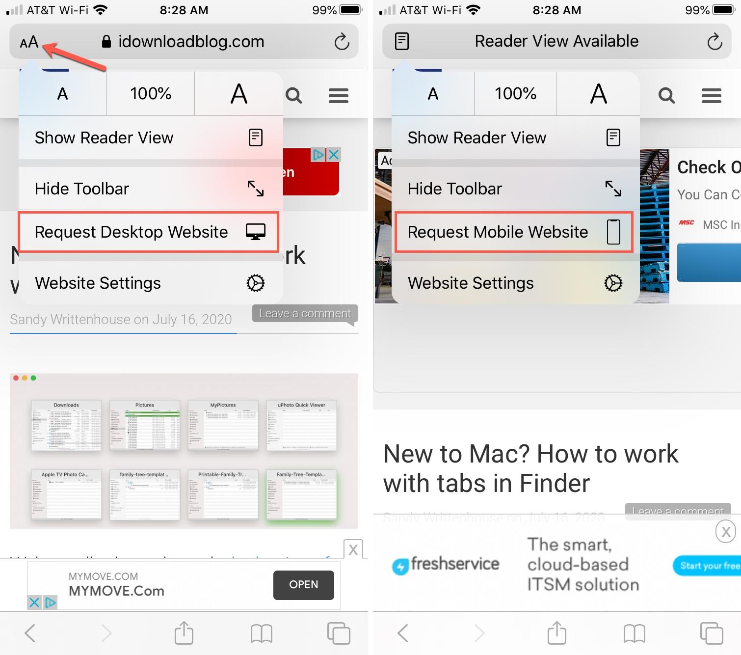 Safari Request Desktop Site iPhone - updated
