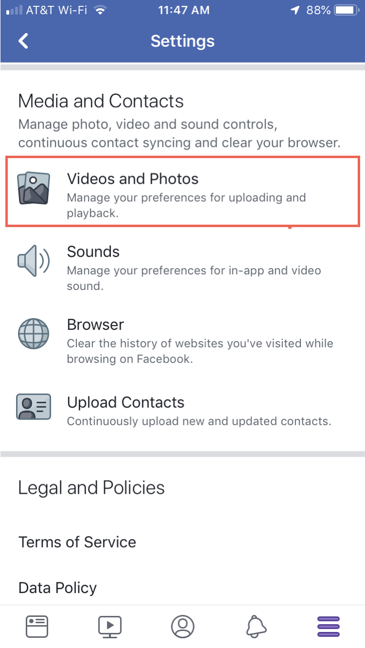 Videos and Photos FB Settings iPhone