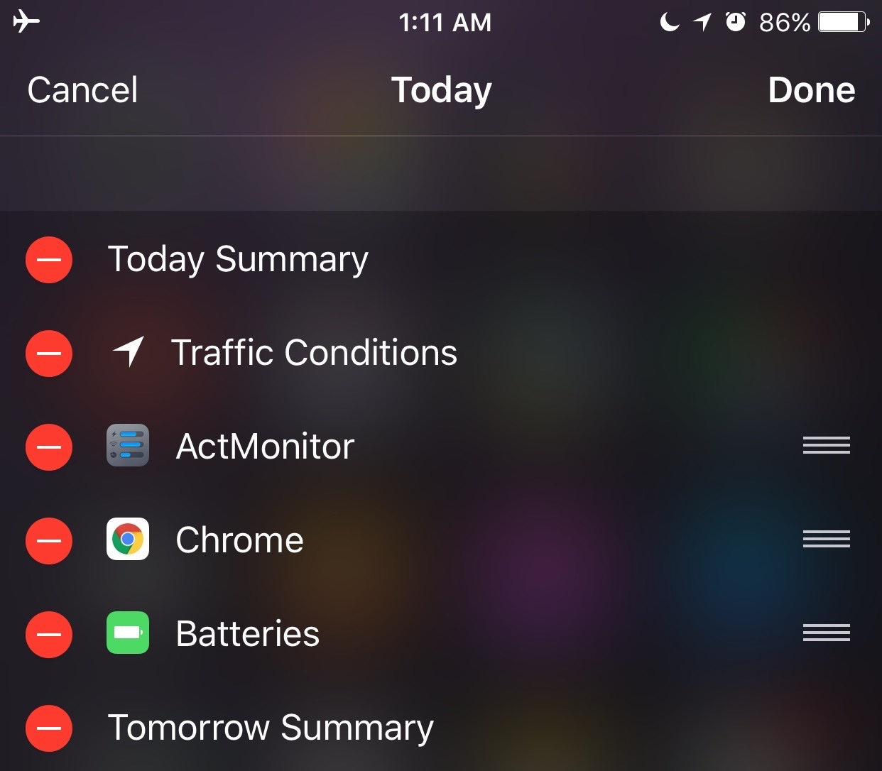 iOS 9 Notification Center Battery widget iPhone screenshot 001