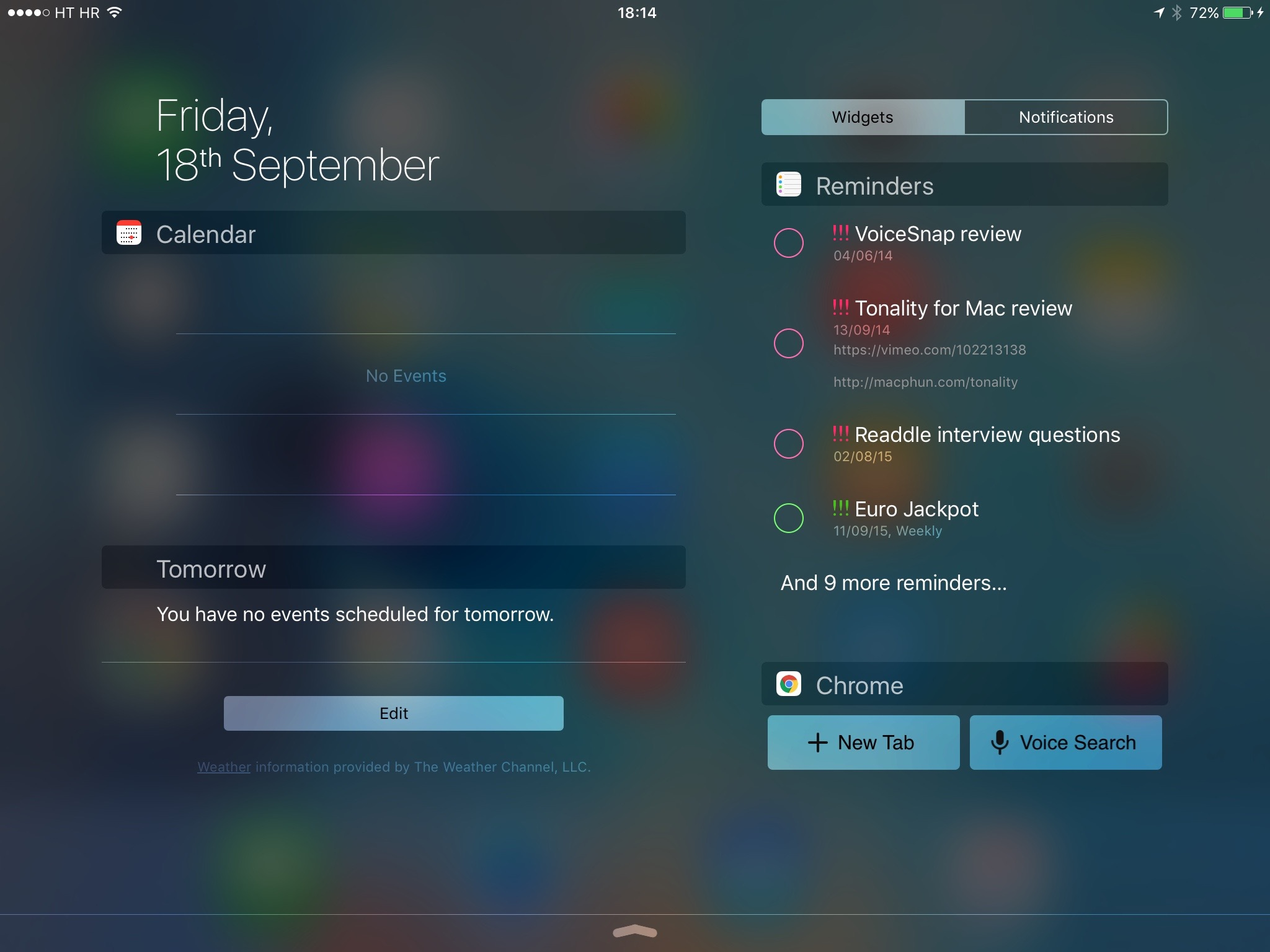 iOS 9 Notification Center landscape view 002