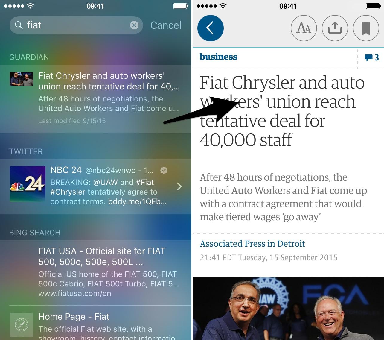 iOS 9 Safari App Universal Search 2