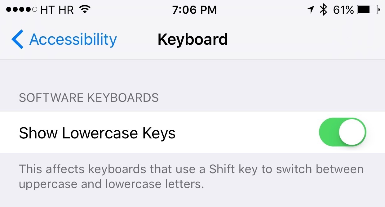 iOS 9 Settings Accessibility Keyboard lowercase keys iPhone screenshot 001