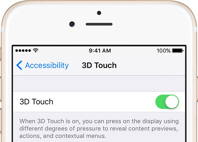 iPhone 6s 3D Touch settings image 001