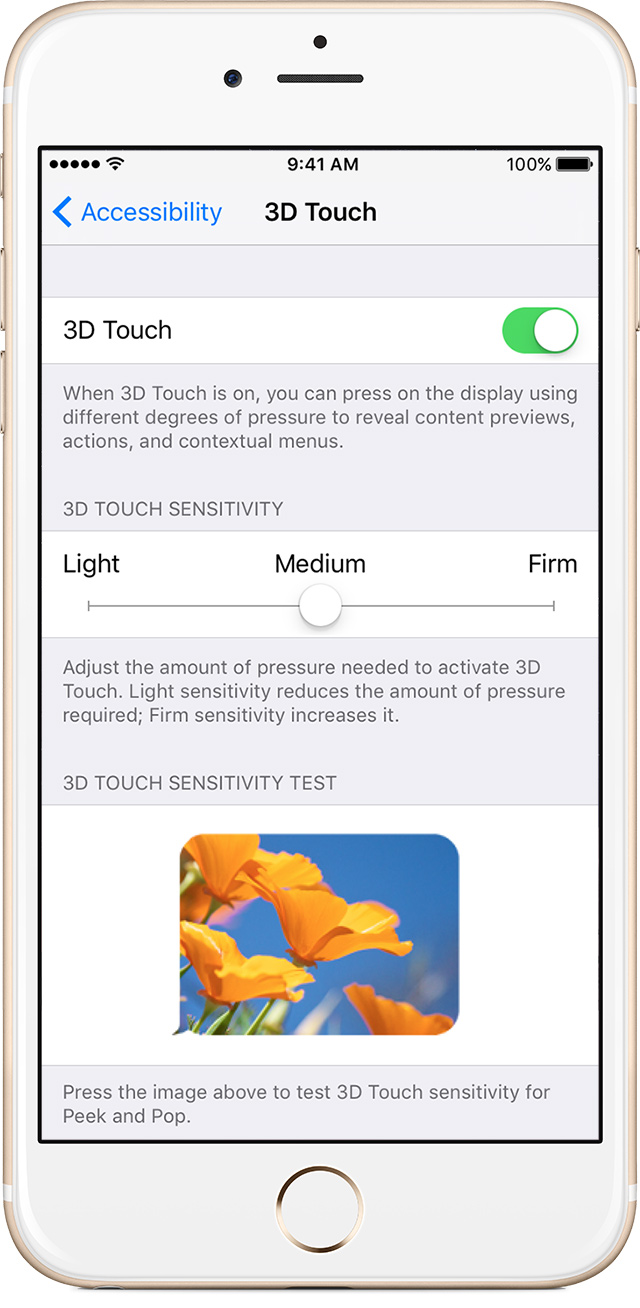 iPhone 6s 3D Touch settings image 002