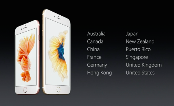 iPhone 6s first countries