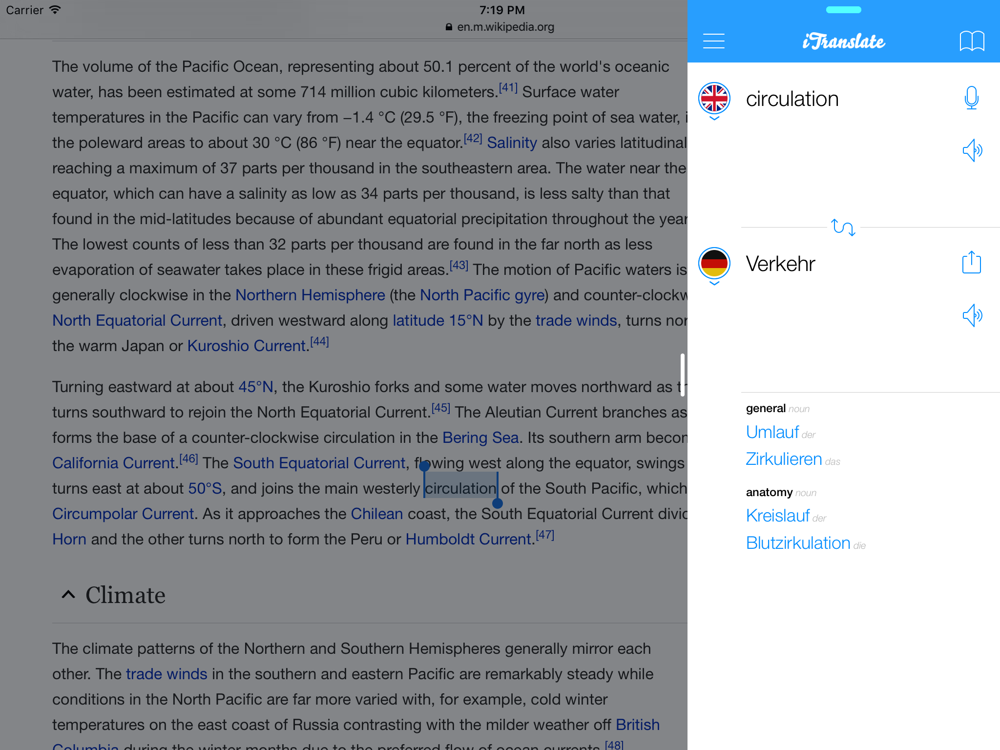 iTranslate 9.0 for iOS Slide Over iPad screenshot 001