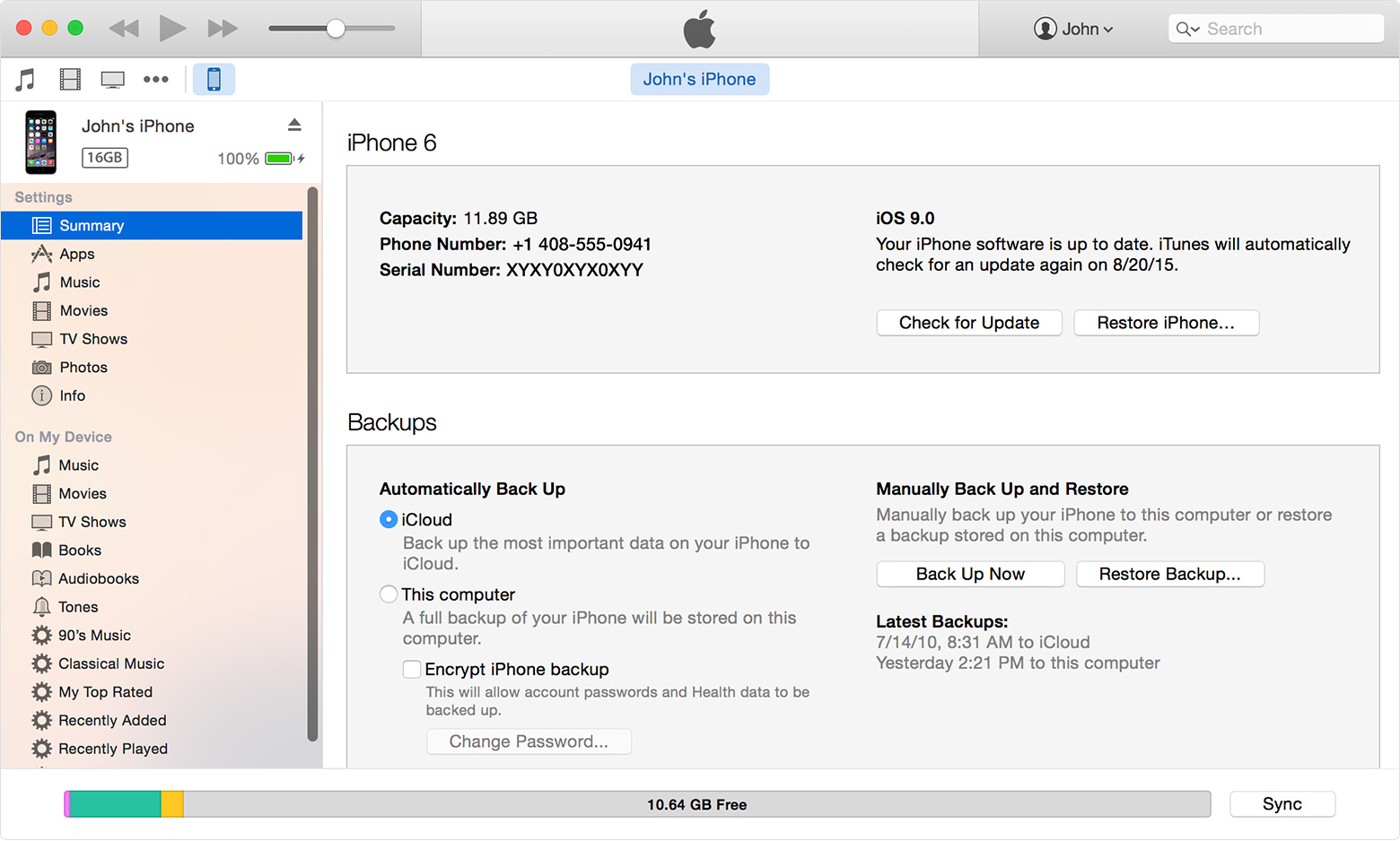 iTunes for Mac encrypt backup Mac screenshot 005
