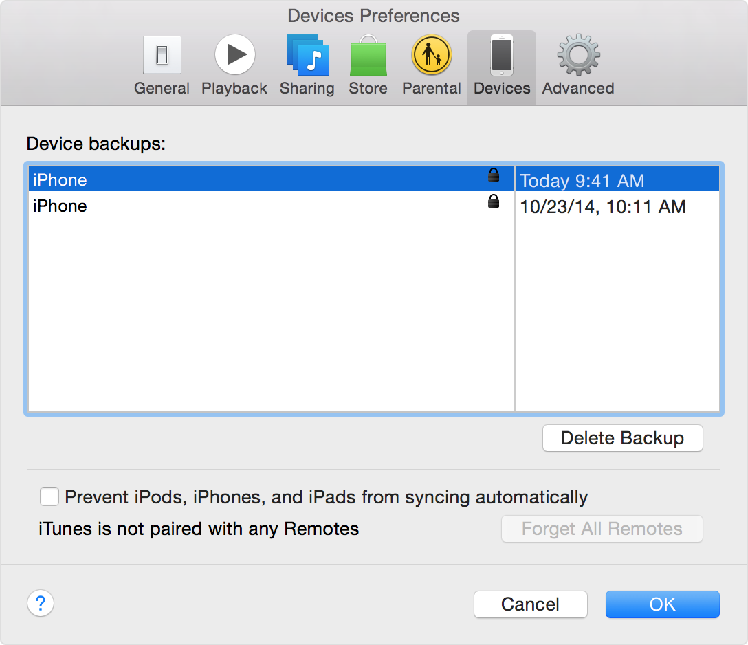 iTunes for Mac encrypt backup Mac screenshot 006