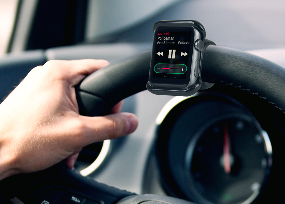 The Satechi Apple Watch Mount makes a great steering wheel companion