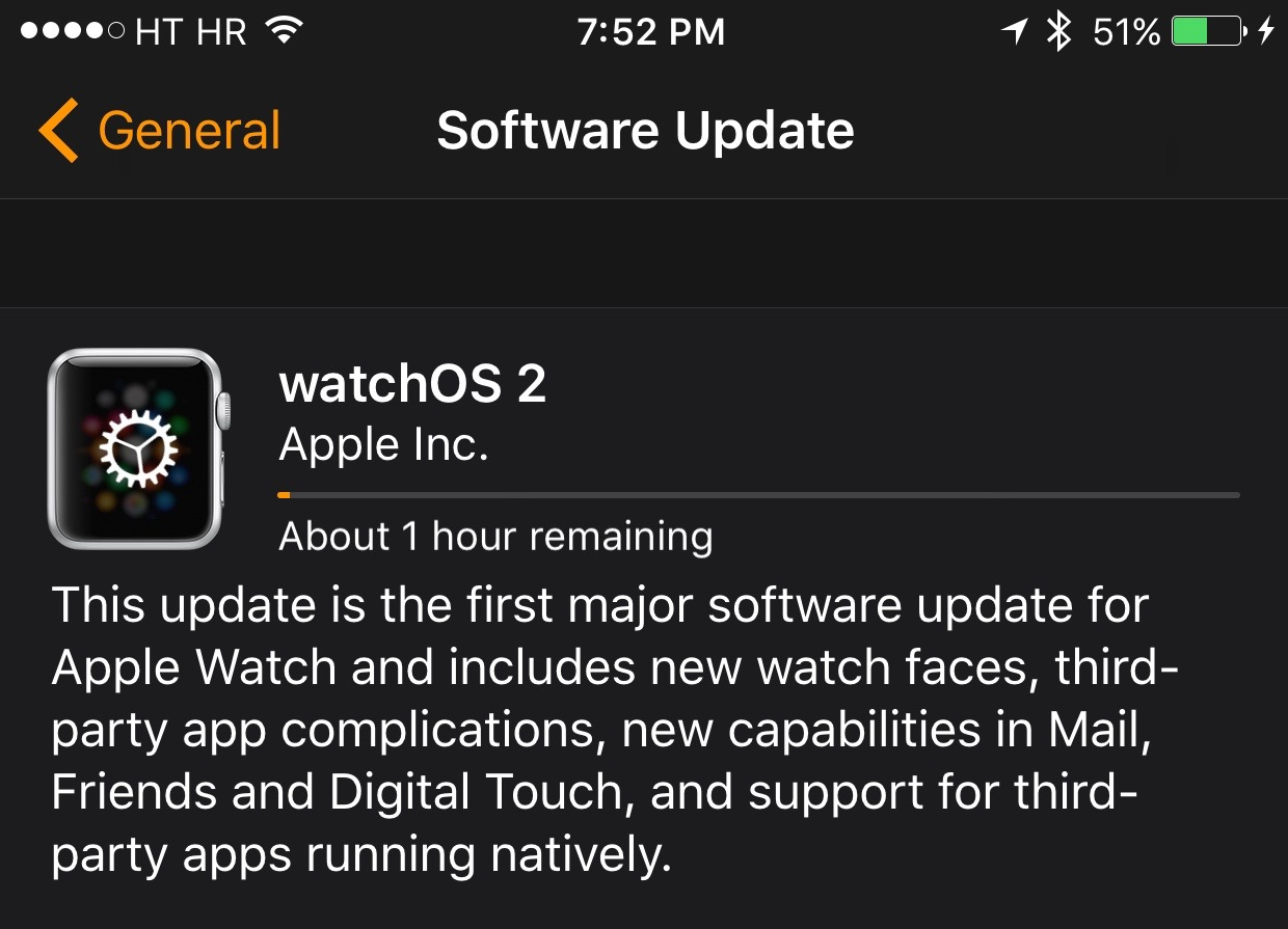 watchOS 2 update prompt