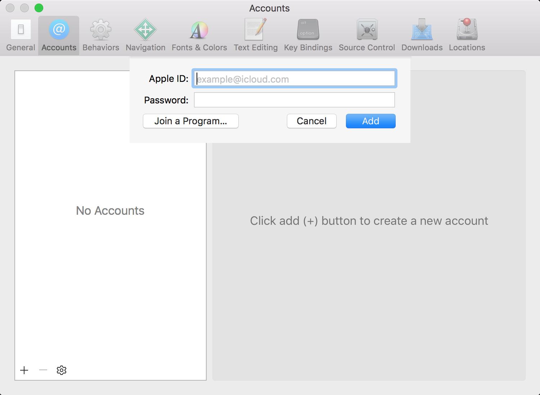 Add Developer Account Xcode 7