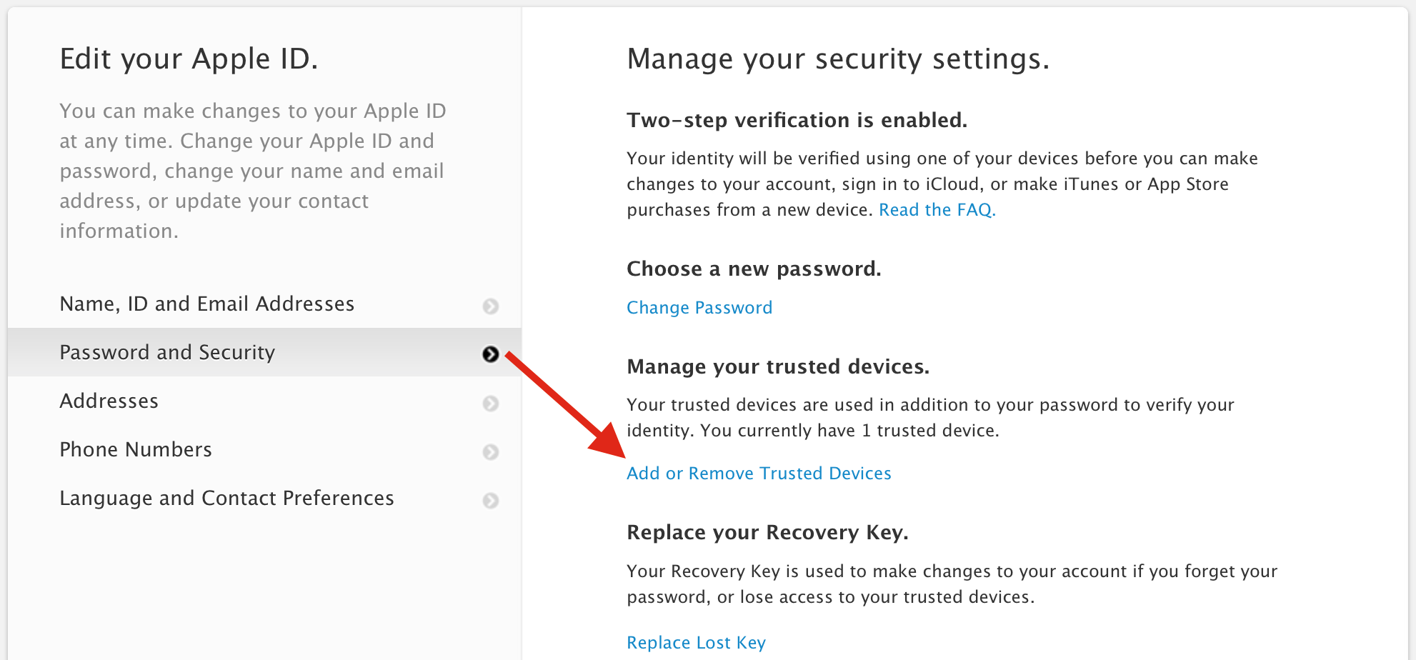 Add or Remove Trusted Devices Apple ID