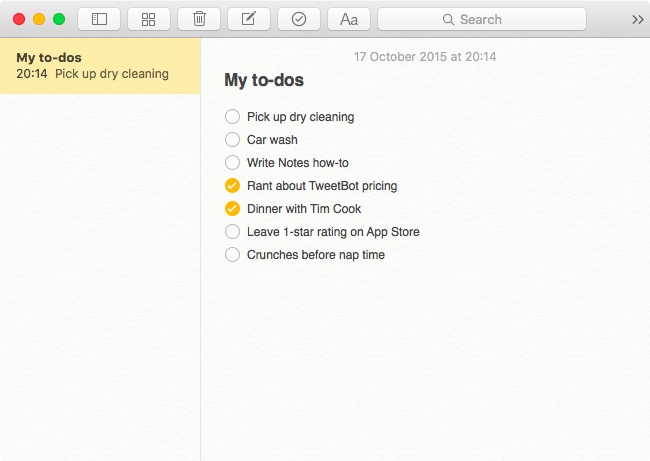 Apple Notes Checklists Mac screenshot 002