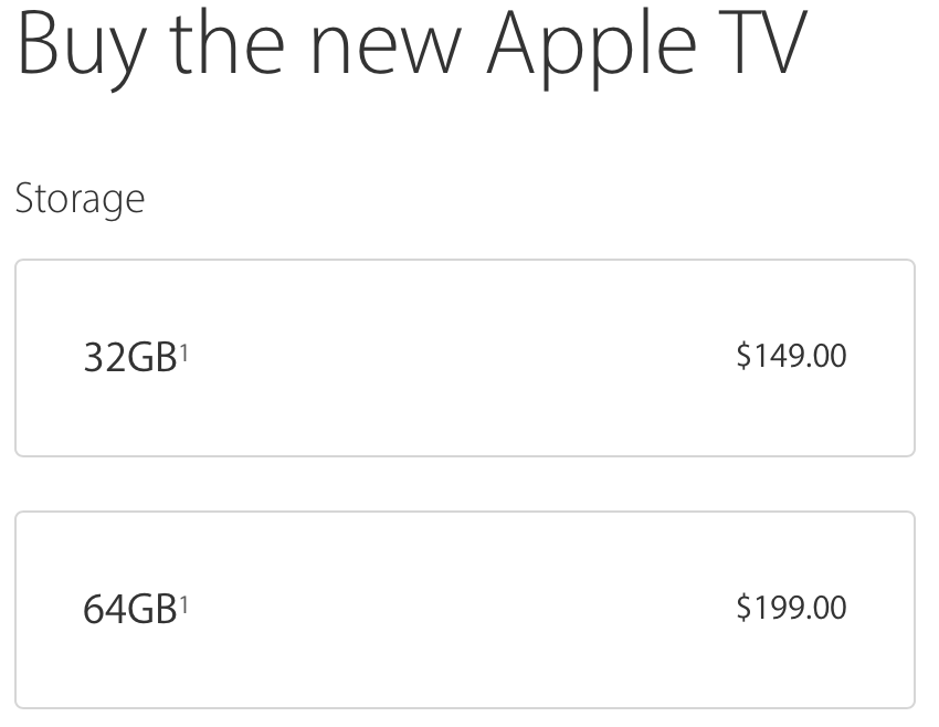 Apple TV 4 Storage