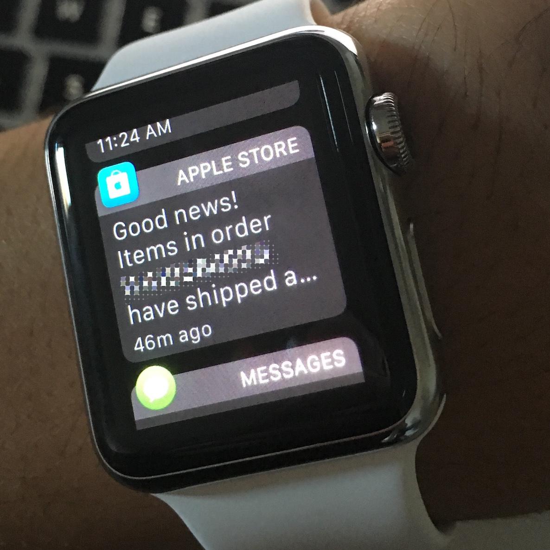 Aviso de envío de Apple TV Apple Watch