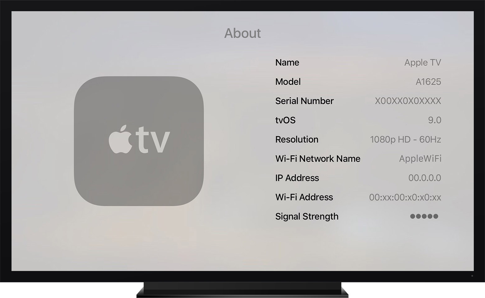 Apple TV fourth generation Settings About screenshot 001
