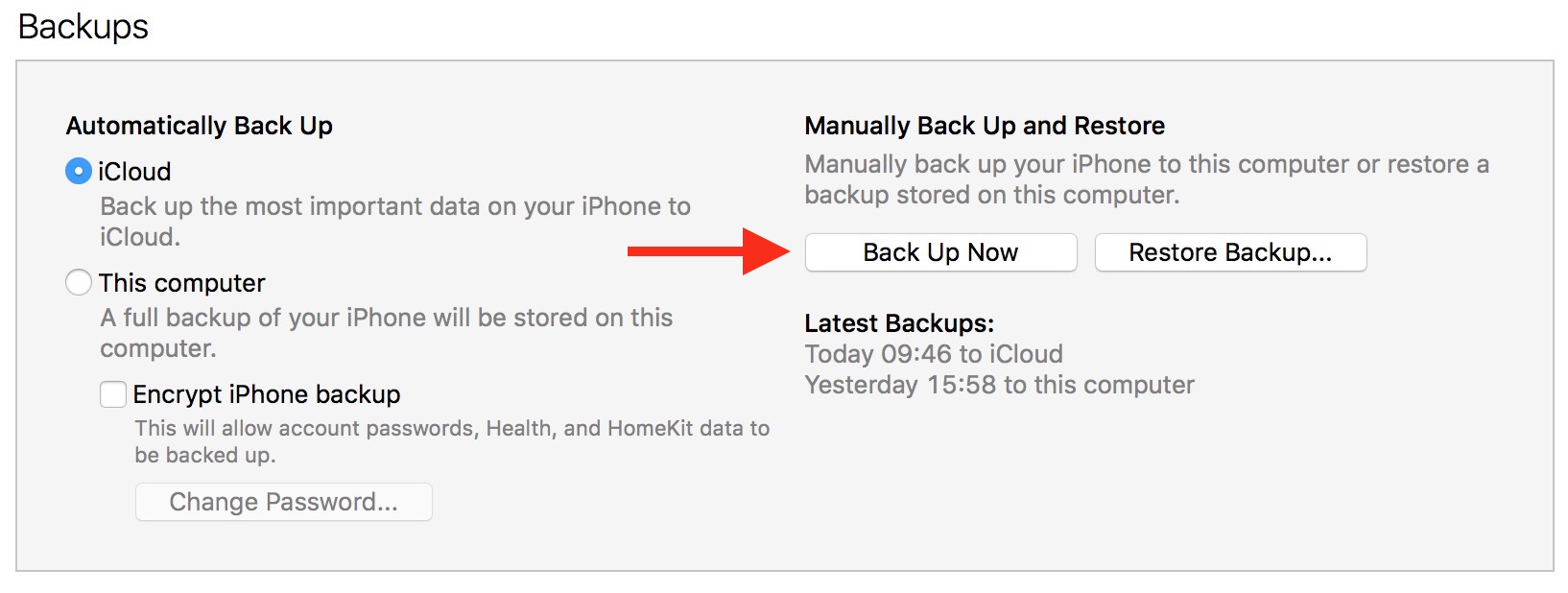 Backup iPhone in iTunes