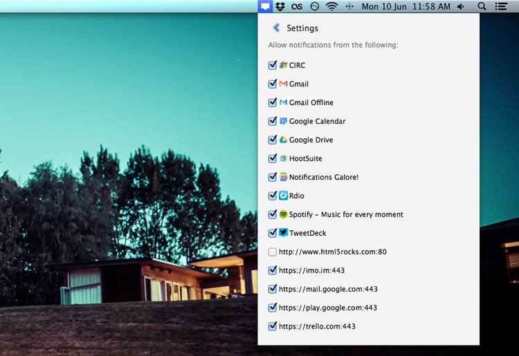 Chrome for Mac notification center