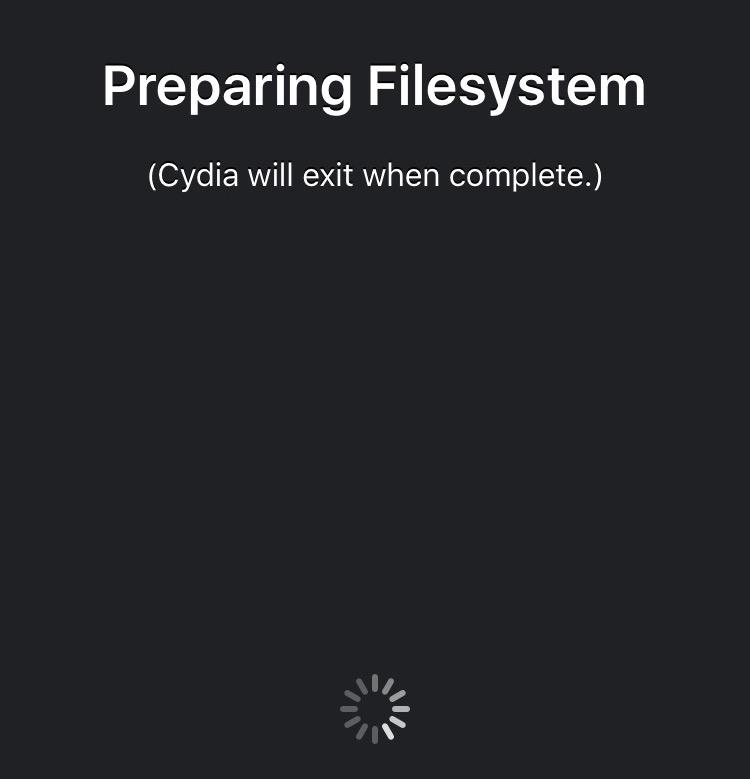 Cydia Installer Preparing Filesystem