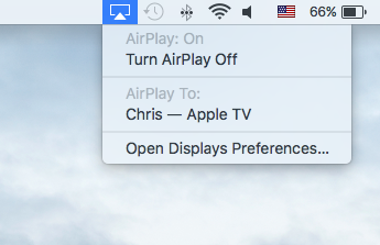 El Capitan AirPlay barra de menú Mac captura de pantalla 007