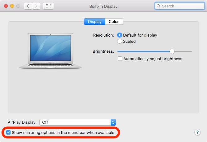 El Capitan AirPlay preferences Mac screenshot 006