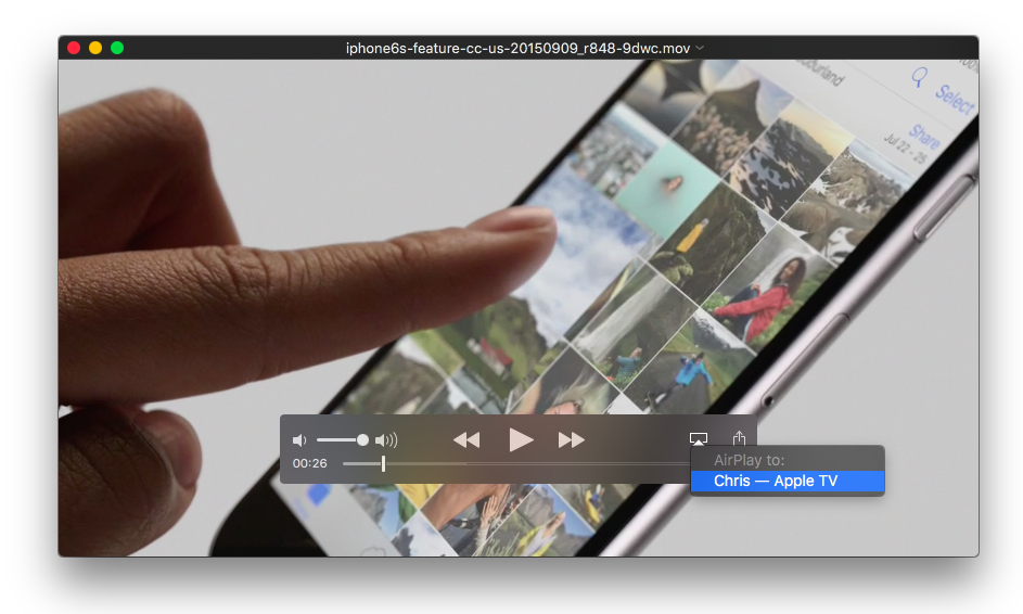 Video de El Capitan AirPlay en Quicktime Player Mac captura de pantalla 003