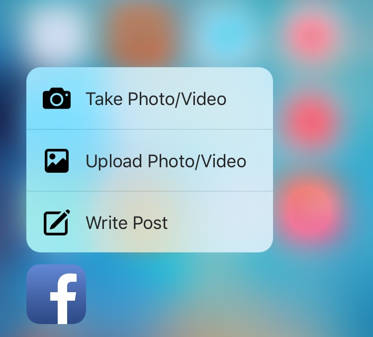 Facebook 3D Touch iPhone 6s screenshot 001