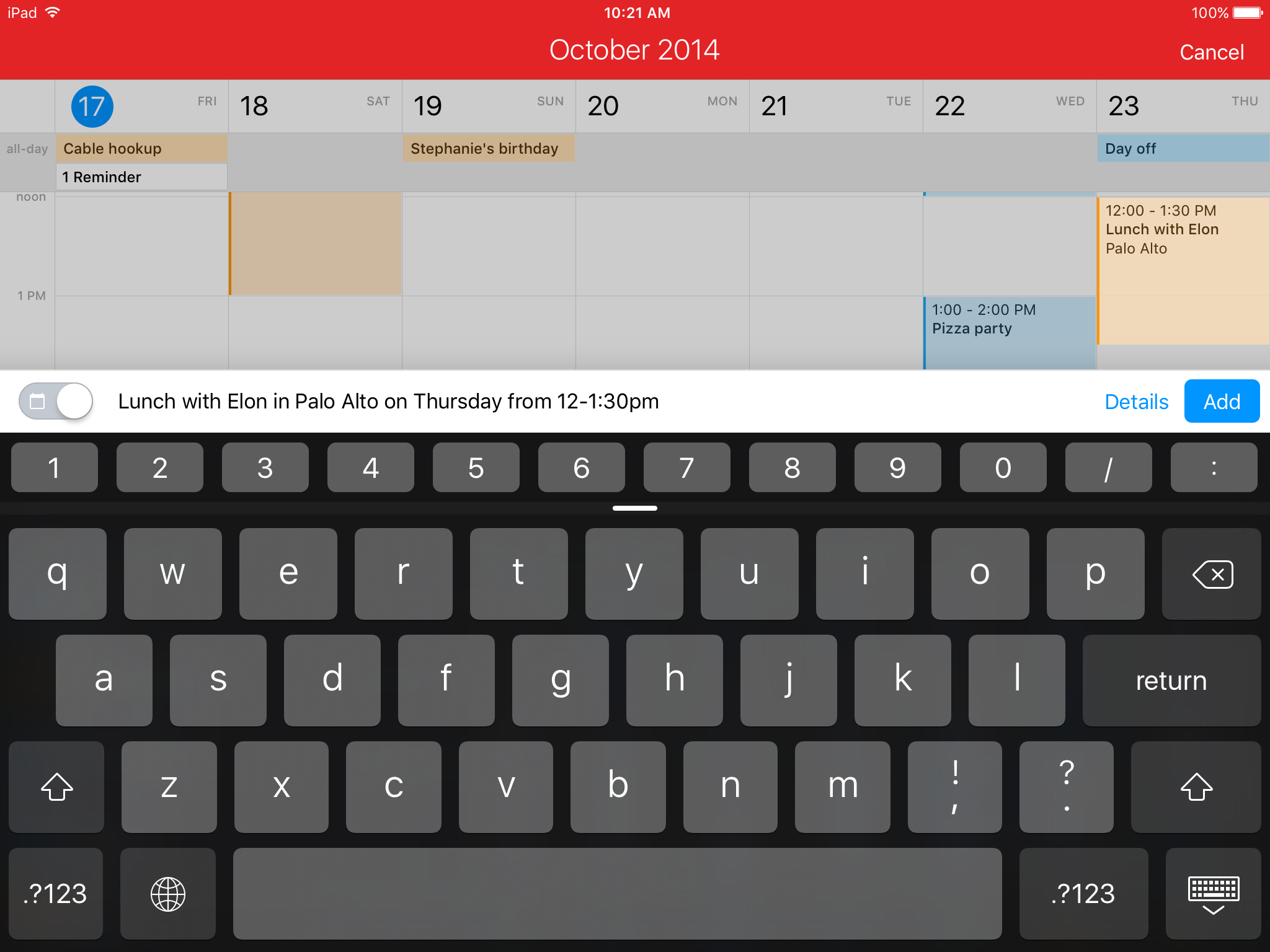 Fantastical 2.5 for iOS New Event iPad screenshot 005