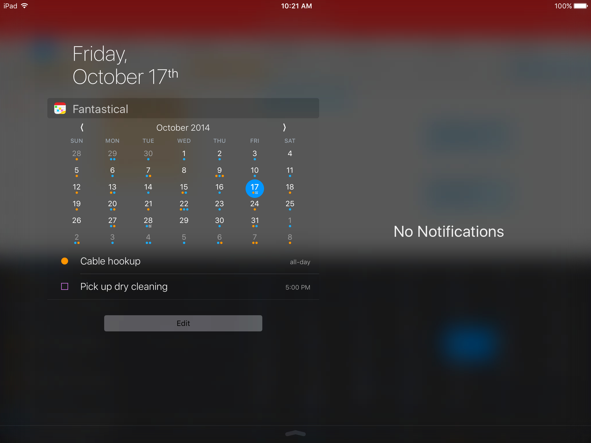 Fantastical 2.5 for iOS Today widget iPad screenshot 006
