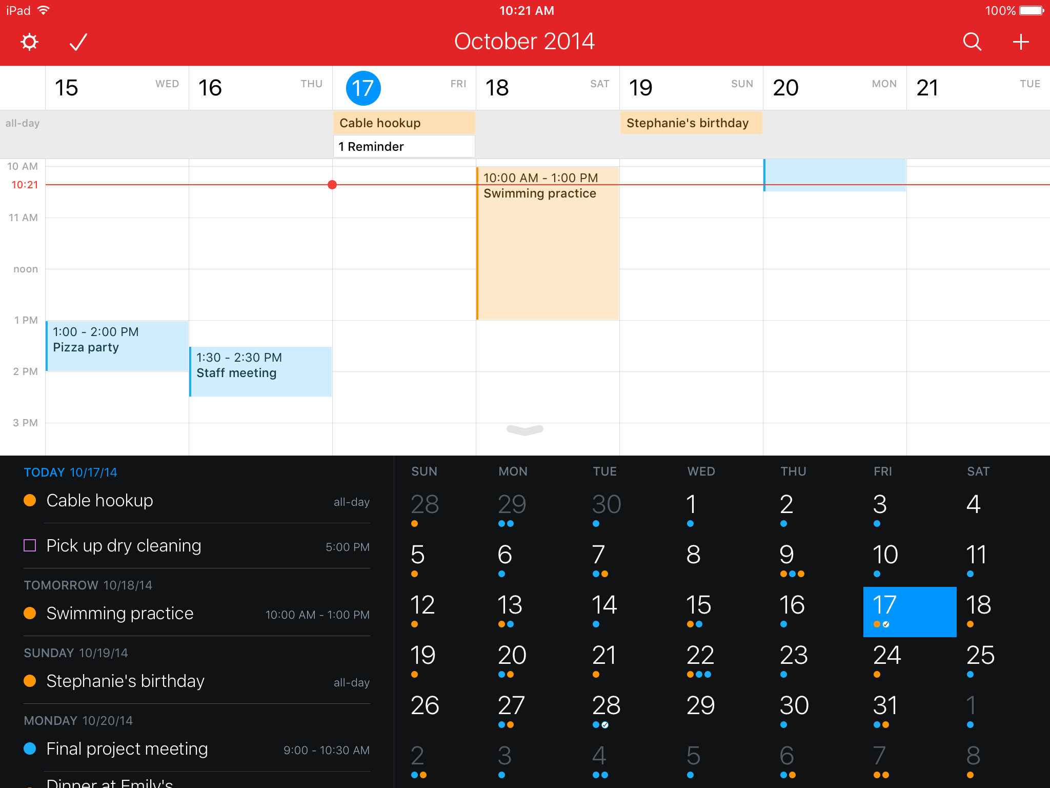Fantastical 2.5 for iOS Weekview iPad screenshot 003