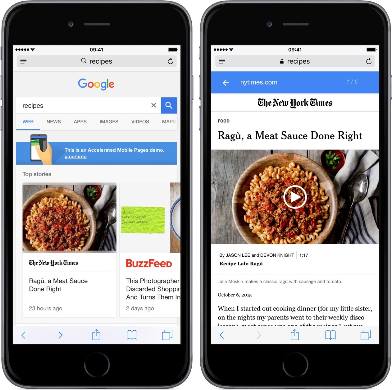 Google Accelerated Mobile Pages iPhone screenshot 001