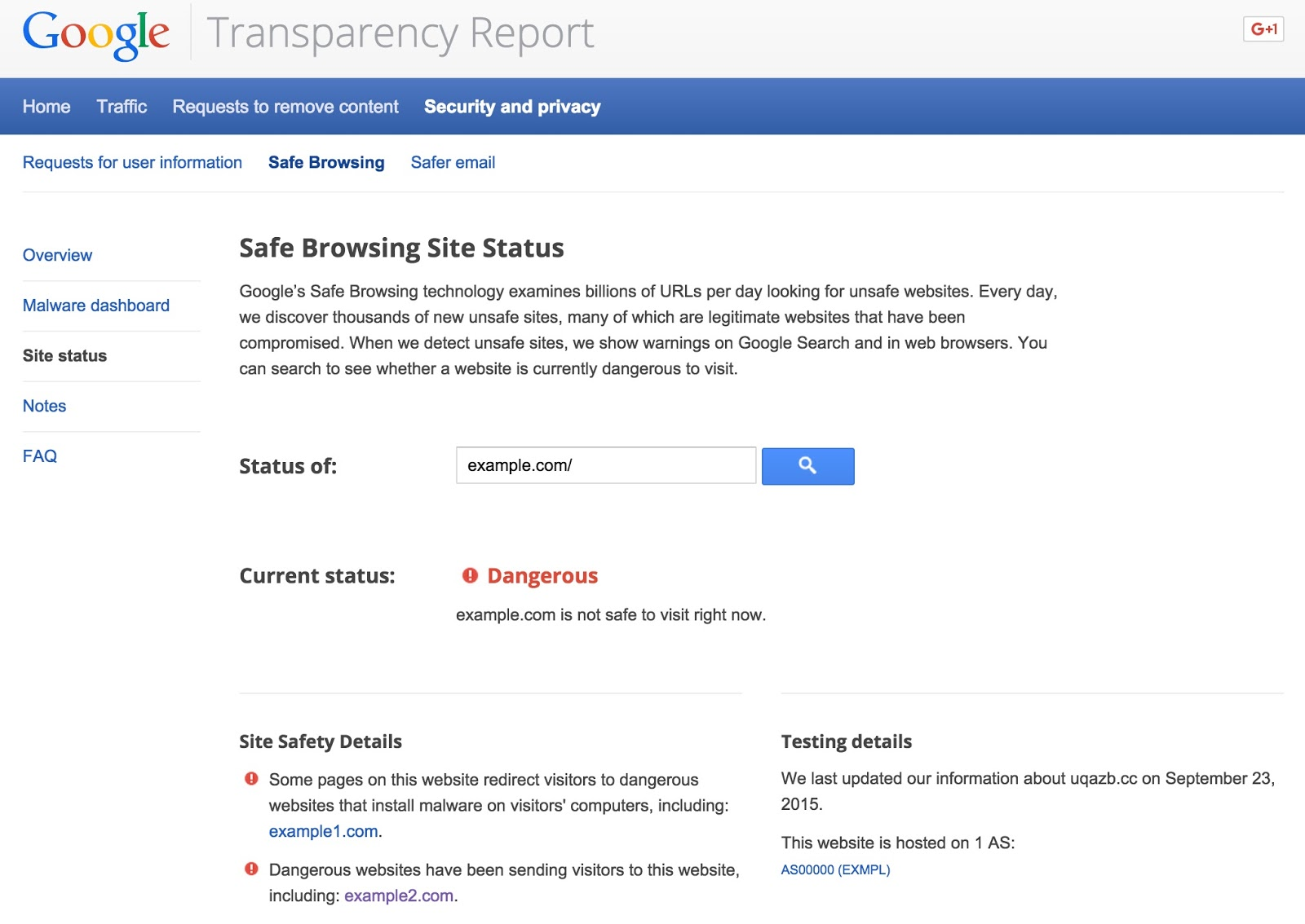Google Chrome Transparency Report Site Status web screenshot 001.
