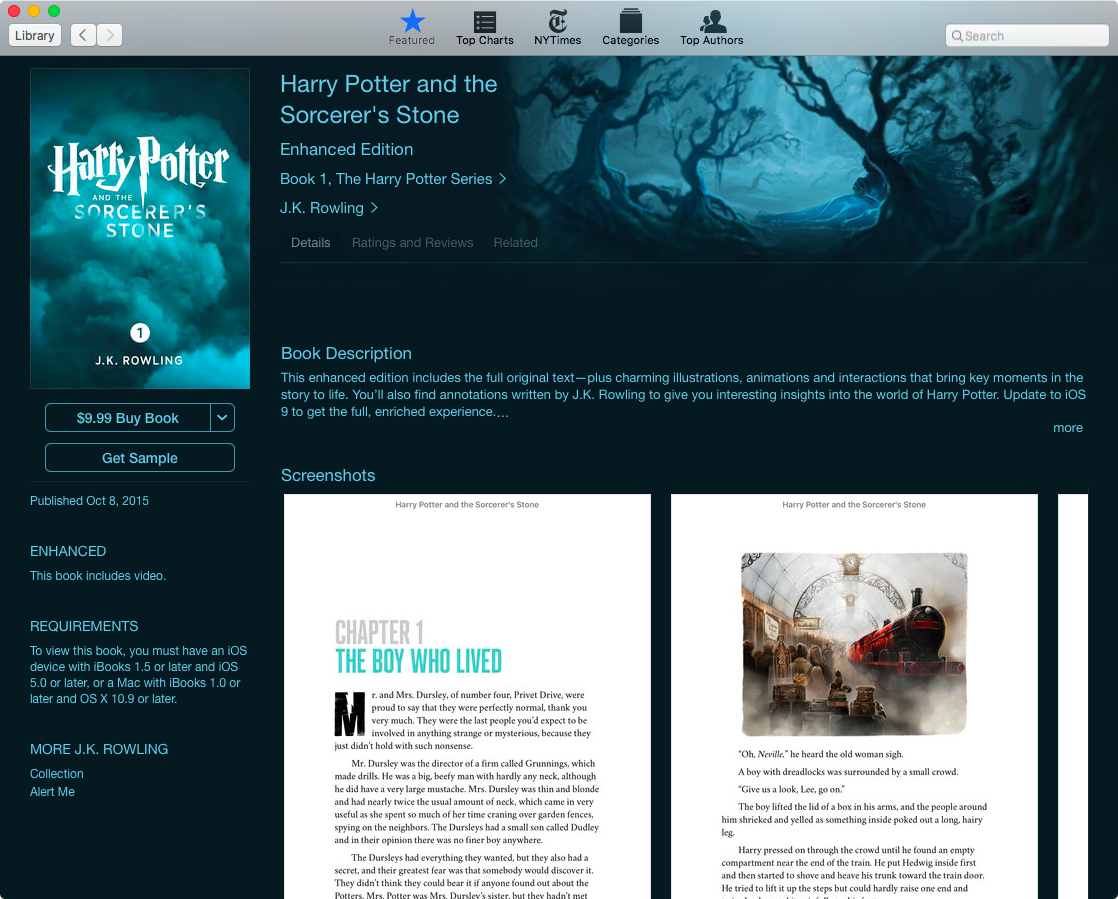 Harry Potter on iBooks Store