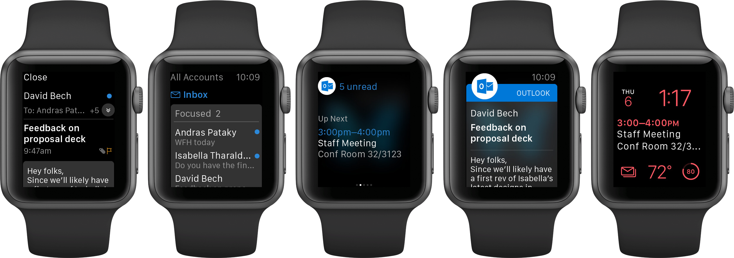 Captura de pantalla 001 de Microsoft Outlook 2.0 para iOS Apple Watch