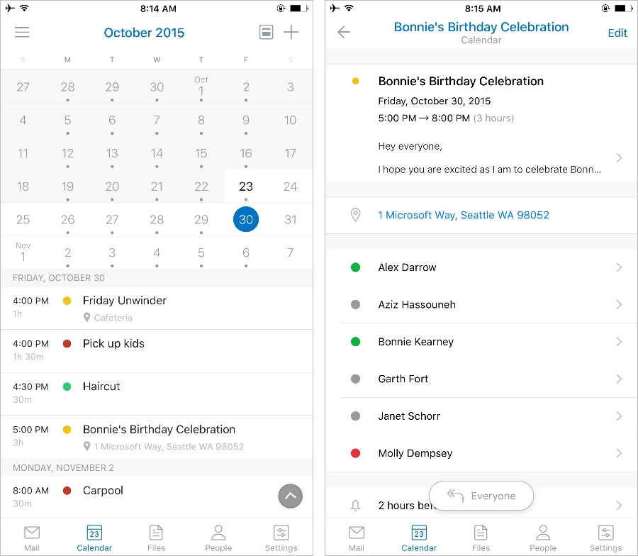 Captura de pantalla 001 de Microsoft Outlook 2.0 para iOS iPhone