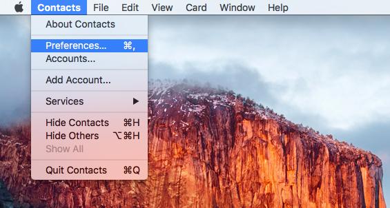 OS X El Capitan Contacts Preferences Mac screenshot 001